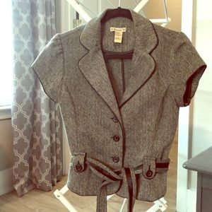 Short-sleeved Tweed Blazer